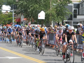 In town racing is much closer at times than on the climbs.  This is Aspen in 2013.